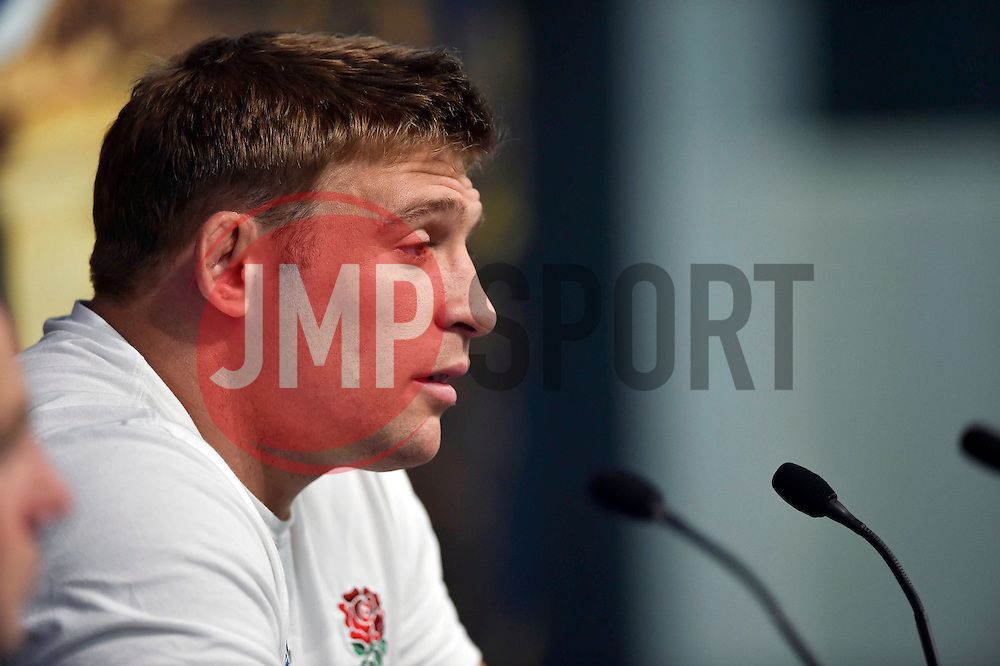 Tom Youngs of England faces the media at a press conference * IMAGE EMBARGO. NOT TO BE PUBLISHED BEFORE 10PM BST 09/10/2015 * - Mandatory byline: Patrick Khachfe/JMP - 07966 386802 - 09/10/2015 - RUGBY UNION - Manchester City Stadium - Manchester, England - England Captain's Run - Rugby World Cup 2015.