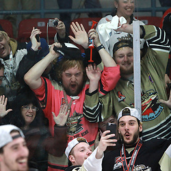 TRENTON, ON  - MAY 6,  2017: Canadian Junior Hockey League, Central Canadian Jr. &quot;A&quot; Championship. The Dudley Hewitt Cup. Championship game between Trenton Golden Hawks and the Georgetown Raiders. Section &quot;7&quot; of the Trenton Golden Hawks Fans celebrates the championship.<br /> (Photo by Tim Bates / OJHL Images)