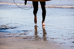 Surfer Walking on Beach, Low Section