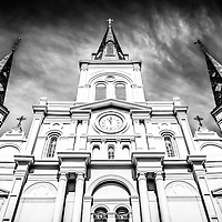 New Orleans Cathedral-Basilica of St. Louis King of France black and white picture. St. Louis Cathedral church is located in Jackson Square in the French Quarter of New Orleans and was completed in 1794.