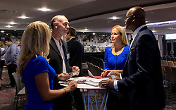Guests mingle with Kriss Akabusi ahead of his talk at the Bristol Sport Big Breakfast - Mandatory by-line: Robbie Stephenson/JMP - 29/07/2016 - FOOTBALL - Ashton Gate - Bristol, England - Bristol Sport Big Breakfast - Kriss Akabusi