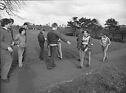 Ireland Soccer Team Training.1983.14.11.1983.11.14.1983.14th November 1983..The Ireland Soccer team trained, for the forthcoming match against Malta, at Stewarts Hospital,Palmerstown Dublin..Image shows Liam Brady,always a fan favourite,being approached by a fan. Manager Eoin hand brings up the rear.