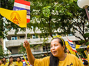 05 DECEMBER 2014 - BANGKOK, THAILAND: A Thai woman waves Thai flags in the plaza at Siriraj Hospital to mark the birthday of Bhumibol Adulyadej, the King of Thailand. Thousands of people jammed into the plaza hoping to catch a glimpse of the revered Monarch. He was scheduled to make a rare public appearance in the Grand Palace but cancelled at the last minute on the instructions of his doctors. He has been hospitalized in Siriraj Hospital, across the Chao Phraya River from the Palace, since early October.    PHOTO BY JACK KURTZ