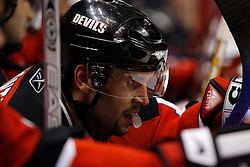 April 28, 2007; East Rutherford, NJ, USA; New Jersey Devils right wing Brian Gionta (14) takes a breather during the first overtime period of game two of the 2007 NHL Eastern Conference semi-finals at Continental Airlines Arena in East Rutherford, NJ.