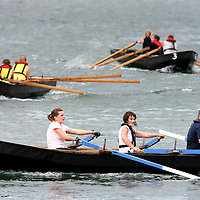 Lining up for a race at  the Currach Racing at the Kilbaha Festival on Sunday.<br /><br />Photograph  by Eamon Ward