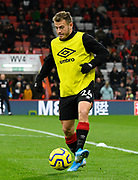 Ryan Fraser (24) of AFC Bournemouth warming up ahead of the Premier League match between Bournemouth and Wolverhampton Wanderers at the Vitality Stadium, Bournemouth, England on 23 November 2019.