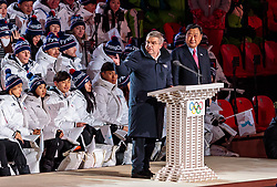 09.02.2018, Olympic Stadium, Pyeongchang, KOR, PyeongChang 2018, Eröffnungsfeier, im Bild Präsident des IOC Thomas Bach und der Präsident des Organisationskomitees Pyeongchang Lee Hee-Beom // President of the International Olympic Committee Thomas Bach President and CEO of Pyeongchang Organizing Committee Lee Hee-Beom during the Opening Ceremony of the Pyeongchang 2018 Winter Olympic Games at the Olympic Stadium in Pyeongchang, South Korea on 2018/02/09. EXPA Pictures © 2018, PhotoCredit: EXPA/ Johann Groder