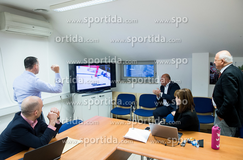 Enzo Smrekar, Iztok Klancnik react when watching Ilka Stuhec winning in Aspen during meeting of Executive Committee of Ski Association of Slovenia (SZS), on March 15, 2017 in SZS, Ljubljana, Slovenia. Photo by Vid Ponikvar / Sportida
