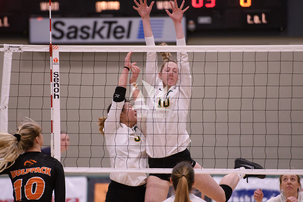 2nd year middle blocker Brooklyn Reynolds (10) of the Regina Cougars in action during Women's Volleyball home game on January 12 at Centre for Kinesiology, Health and Sport. Credit: /Arthur Images 2018