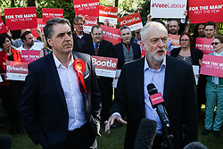 © Licensed to London News Pictures. 05/05/2017. Liverpool, UK. Labour leader Jeremy Corbyn with Steve Rotherham, the newly elected metro mayor of Liverpool, at an event with Labour members and the media in Liverpool following the results of the local and Mayoral elections.  Photo credit : Ian Hinchliffe/LNP