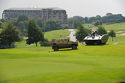© London News Pictures. 05/09/2014. Newport, UK. <br /> Military vehicles at the NATO (North Atlantic Treaty Organisation ) summit at Celtic Manor Resort, Newport, South Wales. Photo credit: Jeff Thomas/LNP