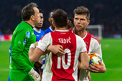 13-03-2019 NED: Ajax - PEC Zwolle, Amsterdam<br /> Ajax has booked an oppressive victory over PEC Zwolle without entertaining the public 2-1 / Darryl Lachman #29 of PEC Zwolle, Dusan Tadic #10 of Ajax, Diederik Boer #1 of PEC Zwolle, Nicolas Tagliafico #31 of Ajax