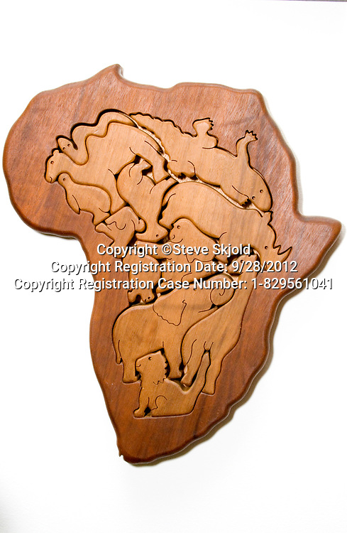 African continent carved into wood displaying the indigenous animals. Chicago Illinois IL USA