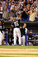 CHICAGO - JULY 25:  Frank Thomas #35 of Chicago White Sox acknowledges the fans after hitting his 400th career home run against the Tampa Bay Devil Rays in the 5th inning on July 25, 2003 at U.S. Cellular Field in Chicago, Illinois. (Photo by Ron Vesely)