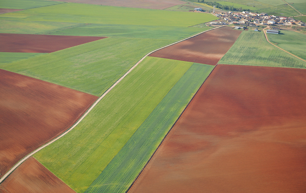 Aerial image<br /> farm land Salamanca Region, Castilla y Le&oacute;n, Spain