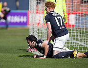 1st April 2018, Dens Park, Dundee, Scotland; Scottish Premier League football, Dundee versus Heart of Midlothian; Sofien Moussa of Dundee celebrates his goal with Simon Murray