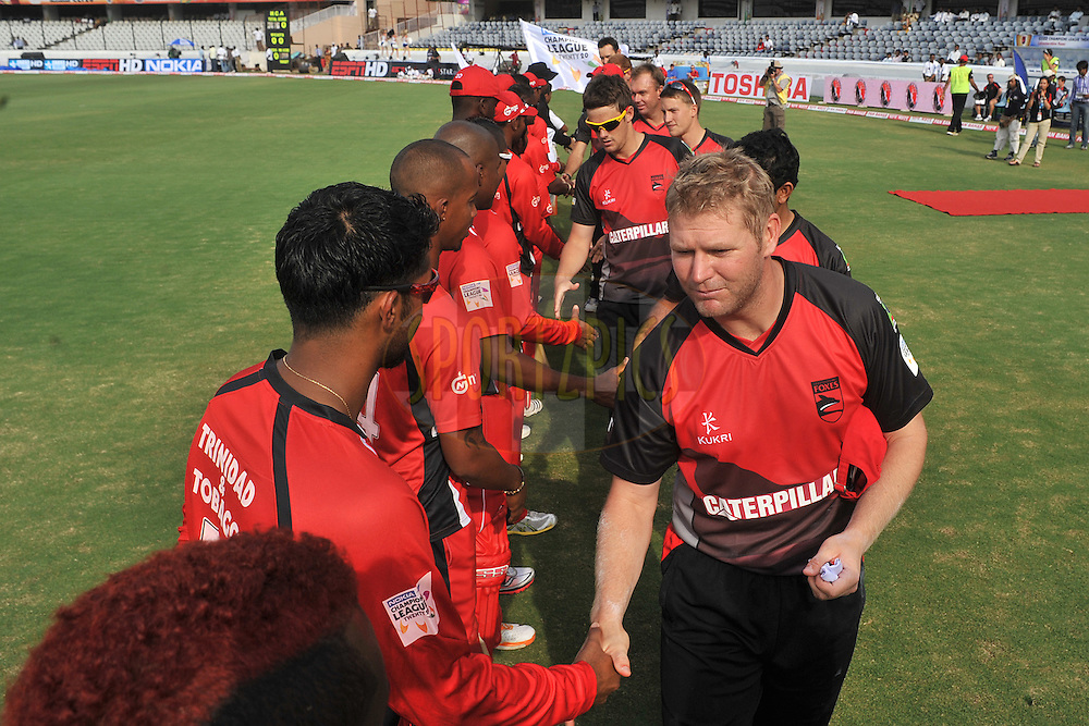 during the CLT20 - Q3 match between Trinidad and Tobago and Leicestershire Foxes held at the Rajiv Gandhi International Stadium, Hyderabad on the 20th September 2011..Photo by Pal Pillai/BCCI/SPORTZPICS