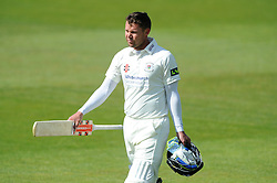 Geraint Jones of Gloucestershire cuts a dejected figure after being bowled out by Tom Bailey of Lancashire for 88 - Photo mandatory by-line: Dougie Allward/JMP - Mobile: 07966 386802 - 08/06/2015 - SPORT - Football - Bristol - County Ground - Gloucestershire Cricket v Lancashire Cricket Day 2 - LV= County Championship