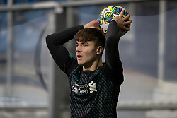 GRÖDIG, AUSTRIA - Tuesday, December 10, 2019: Liverpool's substitute Morgan Boyes takes a throw-in during the final UEFA Youth League Group E match between FC Salzburg and Liverpool FC at the Untersberg-Arena. (Pic by David Rawcliffe/Propaganda)