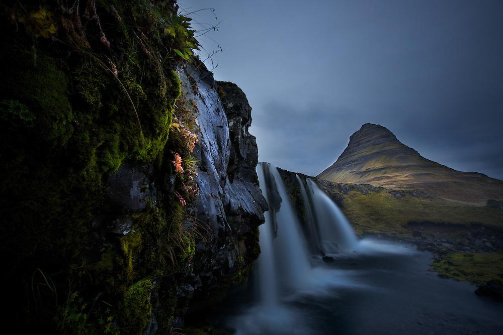 Icelandic landscape water fall.