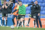 James Vaughan (Bury) warming up before during the EFL Sky Bet League 1 match between Oldham Athletic and Bury at Boundary Park, Oldham, England on 11 March 2017. Photo by Mark P Doherty.