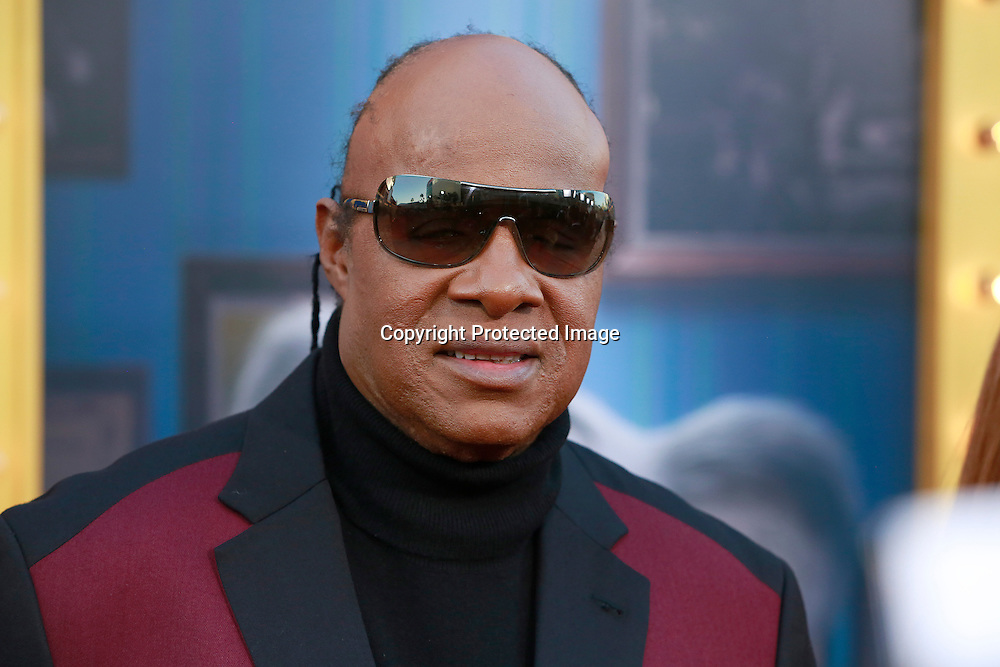 "Steve Wonder arrives at the premiere of Universal Studios ""Sing"" at Microsoft Theater at L.A. Live, Los Angeles, on December 3, 2016"