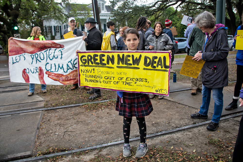 Group joins high school students from Lusher who organized a school strike in New Orleans., part of world side Friday climate strike inspired by Greta Thunberg.