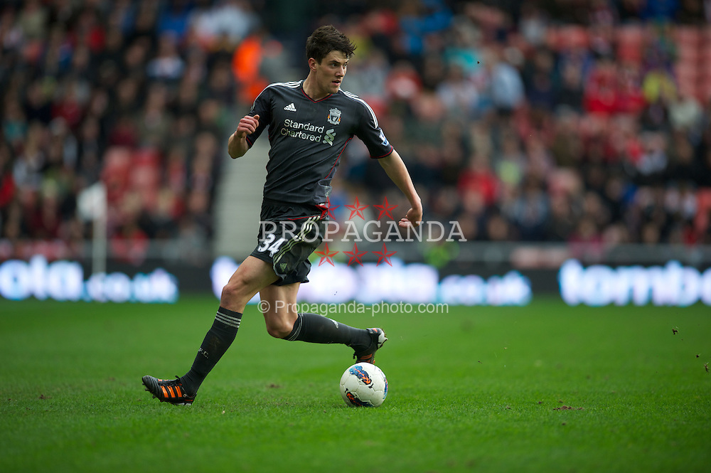 SUNDERLAND, ENGLAND - Saturday, March 10, 2012: Liverpool's Martin Kelly in action against Sunderland during the Premiership match at the Stadium of Light. (Pic by David Rawcliffe/Propaganda)