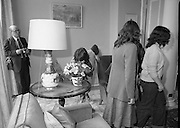 Galway Travellers Visit U.S.Embassy.    (N67)..1981..01.04.1981..04.01.1981..1st April 1981..Elizabeth,the wife of American Ambassador Mr William Shannon,invited a group of Galway travellers to afternoon tea at the residence in Phoenix Park, Dublin..As the ladies tour the residence one is pictured taking note of the flowers on display.