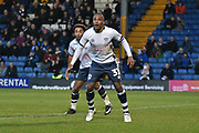 Bury Midfielder, Neil Danns (31) and Bury Forward, Nicky Maynard (36) goal scorer during the EFL Sky Bet League 2 match between Bury and Tranmere Rovers at the JD Stadium, Bury, England on 22 December 2018.