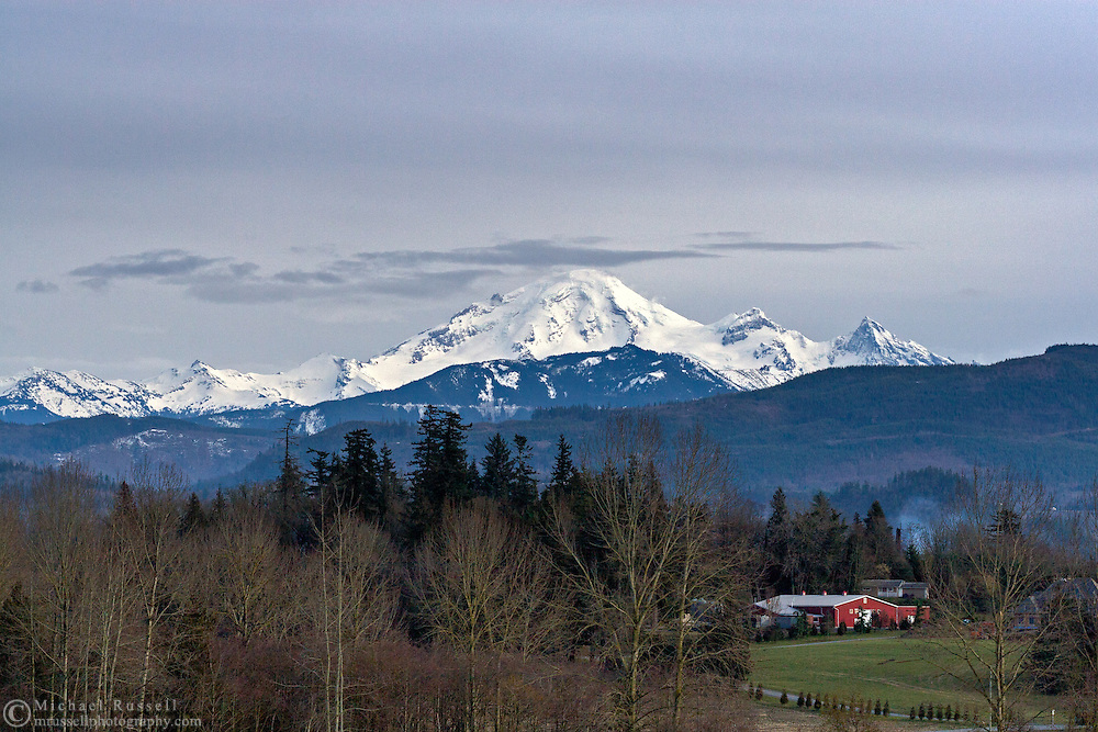 Mount Baker from the farmland in Abbotsford, British Columbia, Canada