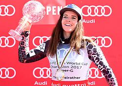 16.03.2017, Aspen, USA, FIS Weltcup Ski Alpin, Finale 2017, SuperG, Damen, Siegerehrung, im Bild Tina Weirather (LIE, Siegerin welt Cup Super G Damen) // Winner of the Super G ladiesTina Weirather of Liechtenstein during the winner presentation for the ladie's Super-G of 2017 FIS ski alpine world cup finals. Aspen, United Staates on 2017/03/16. EXPA Pictures © 2017, PhotoCredit: EXPA/ Erich Spiess