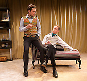 The Green Bay Tree <br /> by Mordaunt Shairp<br /> at the Jermyn Street Theatre, London, Great Britain <br /> press photocall <br /> 26th November 2014 <br /> directed by Tim Luscombe<br /> <br /> <br /> Christopher Leveaux as Julian <br /> <br /> Richard Sterling as Mr Dulcimer<br /> <br /> <br /> <br /> <br /> Photograph by Elliott Franks <br /> Image licensed to Elliott Franks Photography Services