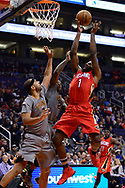 Feb 13, 2017; Phoenix, AZ, USA; New Orleans Pelicans guard Tyreke Evans (1) shoots the ball in front of Phoenix Suns forward Jared Dudley (3) in the second half of the NBA game at Talking Stick Resort Arena. The New Orleans Pelicans won 110-108. Mandatory Credit: Jennifer Stewart-USA TODAY Sports