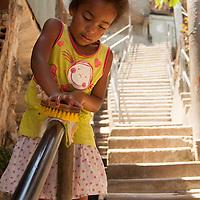"I found ""Cinderella of Santa Marta"" fastidiously this railing on my way down through the many layers of life in Santa Marta Community."