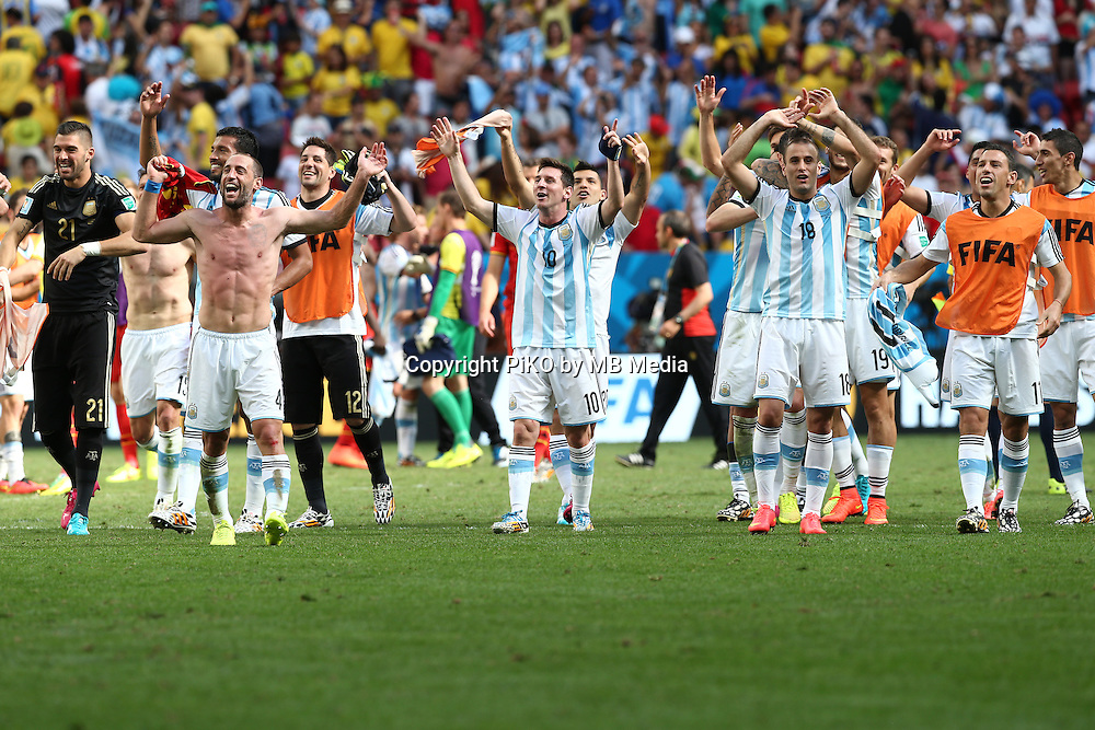 Fifa Soccer World Cup - Brazil 2014 - <br /> ARGENTINA (ARG) Vs. BELGIUM (BEL) - Quarter-finals - Estadio Nacional Brasilia -- Brazil (BRA) - 05 July 2014 <br /> Here Argentine players celebrating after winning the match<br /> &copy; PikoPress