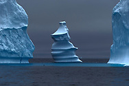 Icebergs on an overcast day in Disko Bay, Greenland.