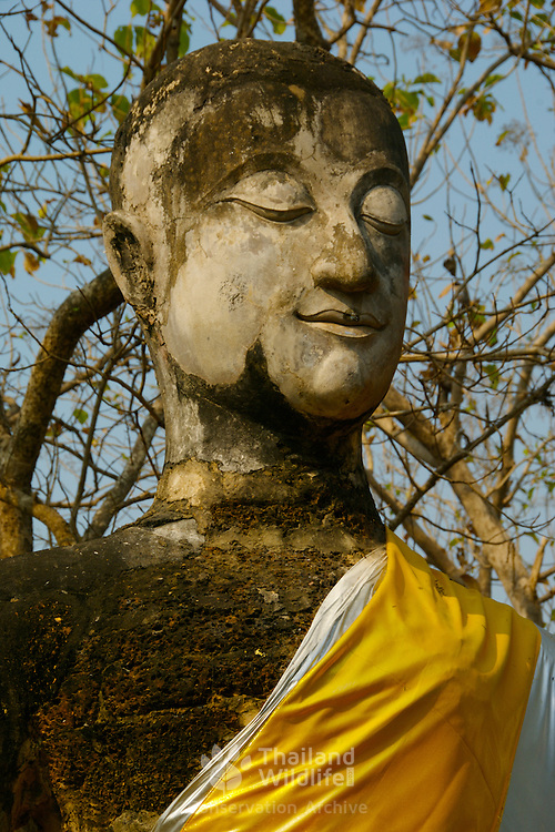 Buddha at Wat Khao Phanom Ploeng in Si Satchanalai, Sukhothai Province. The Sukhothai kingdom was an early Thai kingdom in north central Thailand. It existed from during the 13, 14, 15th centuries The.old capital is in ruins and is a Historical Park..View from Feb, 2007.