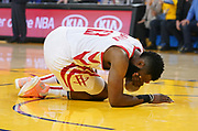 April 30, 2019; Oakland, CA, USA; Houston Rockets guard James Harden (13) reacts after an injury against the Golden State Warriors during the first quarter in game two of the second round of the 2019 NBA Playoffs at Oracle Arena.