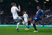 Blackburn Rovers defender Tosin Adarabioyo (24) fouls Leeds United defender Luke Ayling (2) for the penalty incident during the EFL Sky Bet Championship match between Leeds United and Blackburn Rovers at Elland Road, Leeds, England on 9 November 2019.