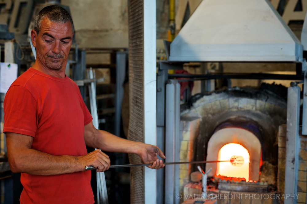 Before a piece is complete there are several passages in and out the furnace to allow the bead to be workable.