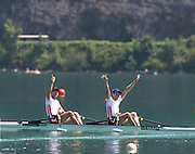 Aiguebelette, FRANCE.  Men's lightweight double sculls, FRA LM2X winning and celebrating, Stany DELAYRE  and Jeremie AZOU   2014 FISA World Cup II, 11:39:25  Sunday  22/06/2014. [Mandatory Credit; Peter Spurrier/Intersport-images]