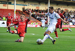 WALSALL, ENGLAND - Tuesday, August 10, 2010: Tranmere Rovers' Aaron Cresswell in action against Walsall during the Football League Cup 1st Round match at the Bescot Stadium. (Pic by: Chris Brunskill/Propaganda)