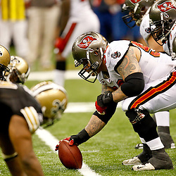 November 6, 2011; New Orleans, LA, USA; Tampa Bay Buccaneers center Jeff Faine (52) lines up against the New Orleans Saints during the second half of a game at the Mercedes-Benz Superdome. The Saints defeated the Buccaneers 27-16. Mandatory Credit: Derick E. Hingle-US PRESSWIRE