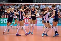20-05-2016 JAP: OKT Italie - Nederland, Tokio<br /> De Nederlandse volleybalsters hebben een klinkende 3-0 overwinning geboekt op Italië, dat bij het OKT in Japan nog ongeslagen was. Het met veel zelfvertrouwen spelende Oranje zegevierde met 25-21, 25-21 en 25-14 Anne Buijs #11, Debby Stam-Pilon #16, Yvon Belien #3, Laura Dijkema #14, Maret Balkestein-Grothues #6