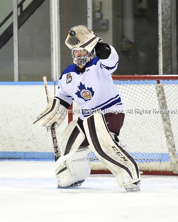 MARKHAM, - Mar 4, 2016 -  Ontario Junior Hockey League game action between Markham Royals and the Whitby Fury. Game 1 of the first round playoff series at the Markham Centennial Community Centre, ON. Scott Smith #30 of the Markham Royals blocks the shot during the first period.<br /> (Photo by Andy Corneau / OJHL Images)