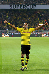 DORTMUND, Aug. 6, 2017  Dortmund's Pierre-Emerick Aubameyang celebrates scoring during the 2017 German Super Cup match between Bayern Munich and Borussia Dortmund in Dortmund, Germany, on Aug. 5, 2017. Bayern Munich won 7-6 after penalty shootout and got the 2017 German Super Cup trophy. (Credit Image: © Joachim Bywaletz/Xinhua via ZUMA Wire)