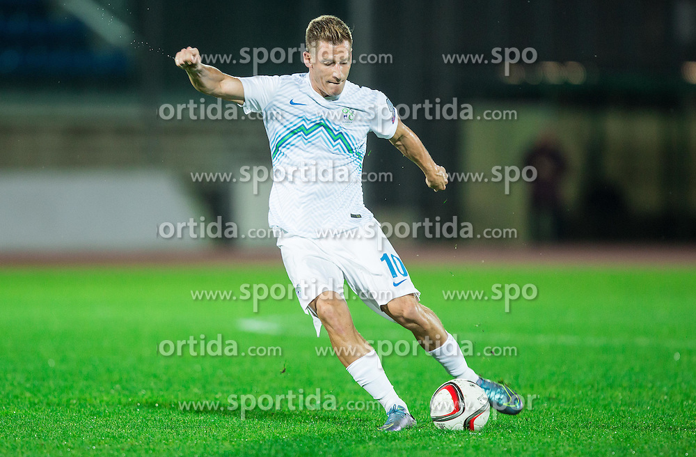 Valter Birsa of Slovenia during football match between National teams of San Marino and Slovenia in Group E of EURO 2016 Qualifications, on October 12, 2015 in Stadio Olimpico Serravalle, Republic of San Marino. Photo by Vid Ponikvar / Sportida