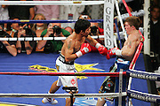 Manny Pacquiao batters Ricky Hatton in the second round of their Light Welterweight title fight at the MGM Grand, Las Vegas , Nevada, 2nd May 2009.