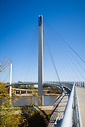 USA, Nebraska and Iowa. Bob Kerrey Pedestrian bridge over the Missouri River connecting Nebraska and Iowa. Taken from the Nebraska side, looking toward Iowa.